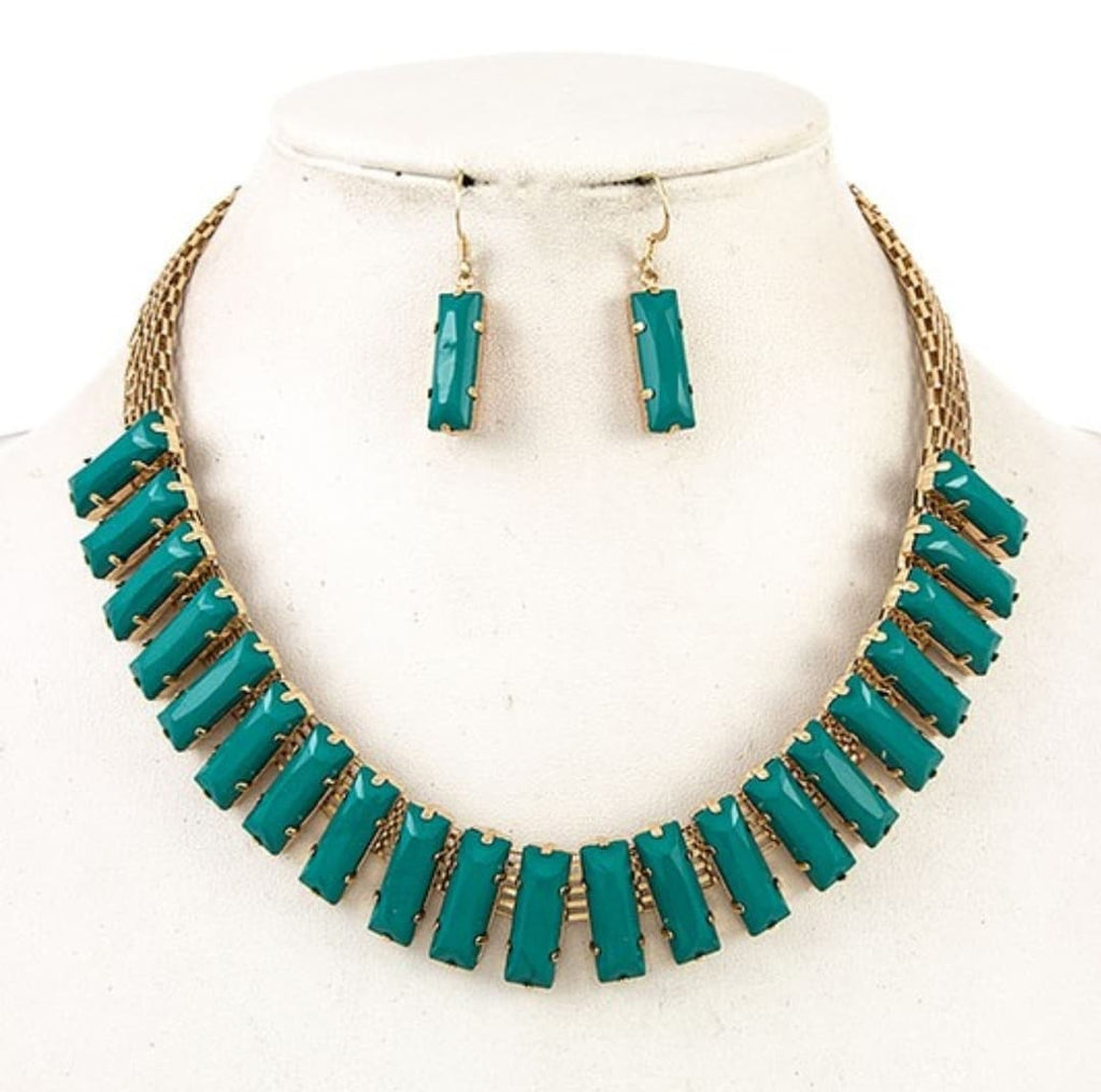 Emerald Green Bar Necklace and Earrings - Altered Apparel Boutique