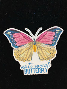 AntiSocial Butterfly Sticker