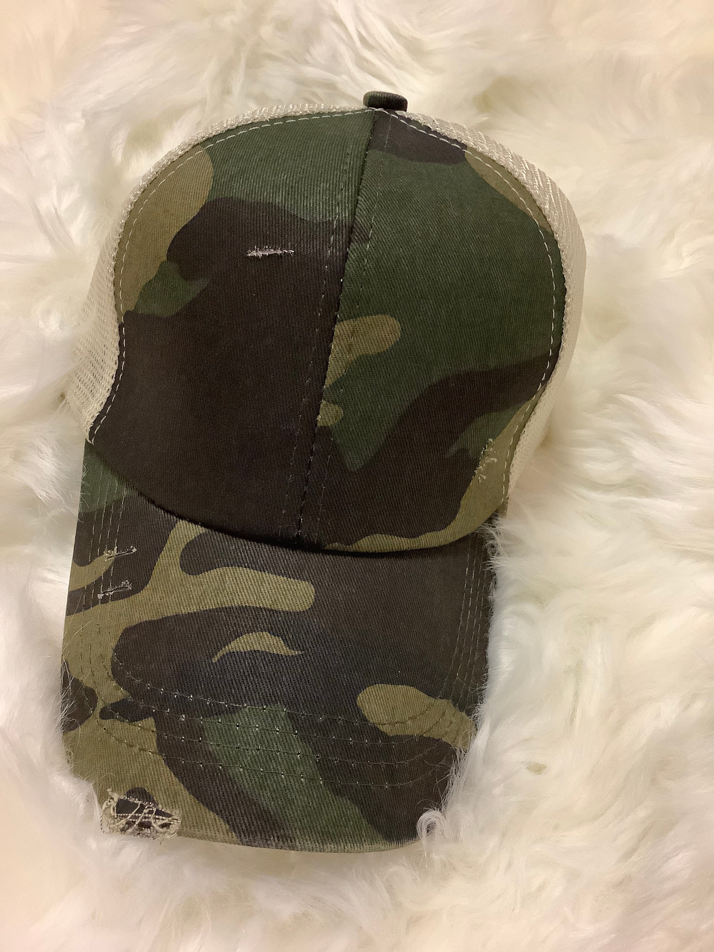 Distressed Ponytail Hat - Altered Apparel Boutique