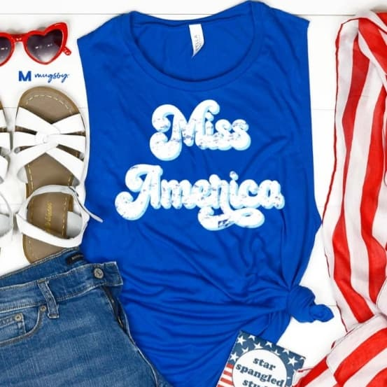 Miss America Sleeveless Tee - Altered Apparel Boutique