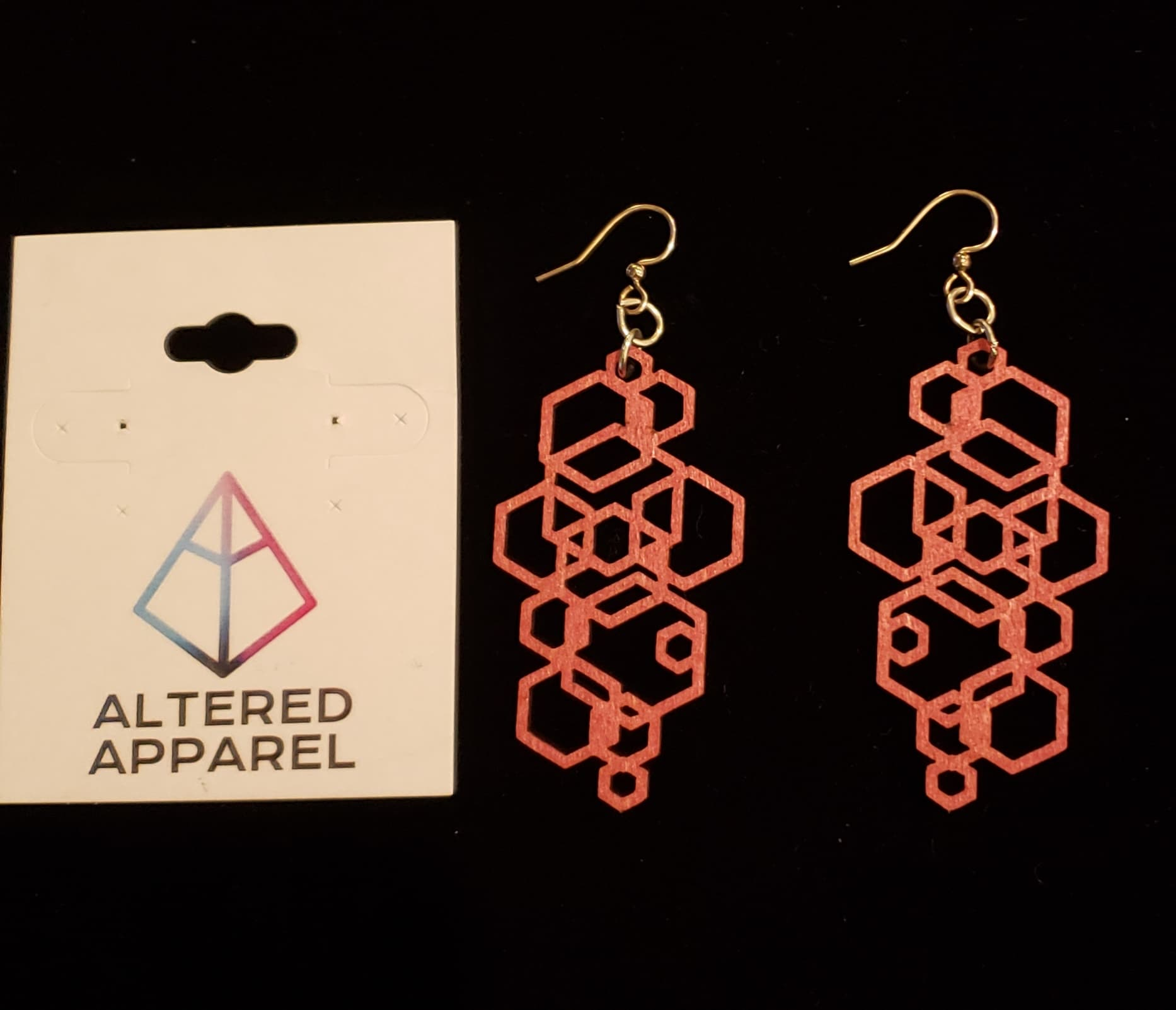 Pink Geometric Wooden Earrings - Altered Apparel Boutique