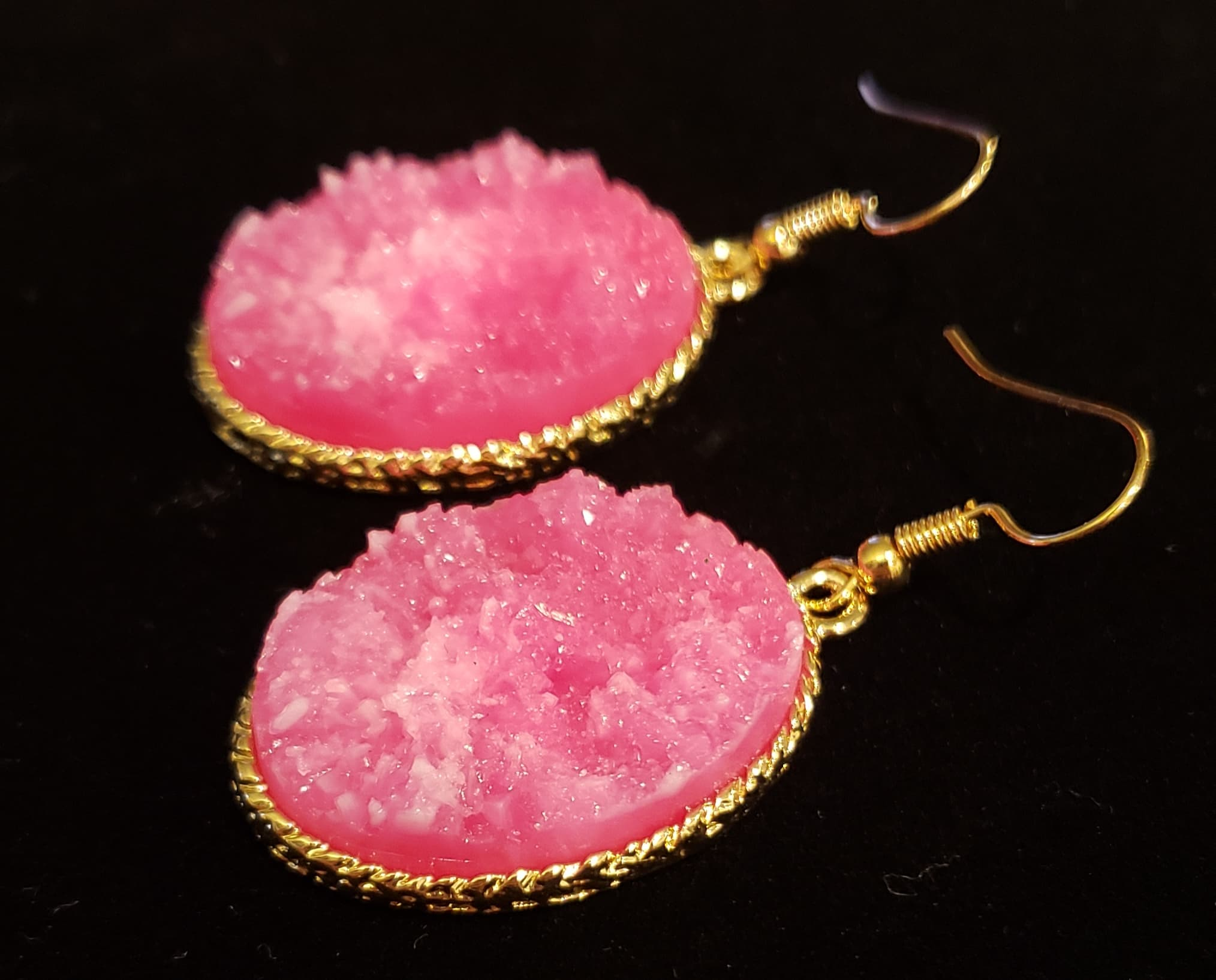 Pink Druzy Earrings - Altered Apparel Boutique
