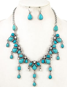 Western Turquoise Necklace and Earrings - Altered Apparel Boutique