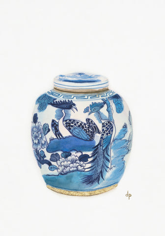 Chinese Ginger Jar with Peacocks