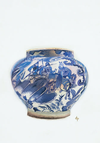 Wine Jar With Scene From a Popular Drama