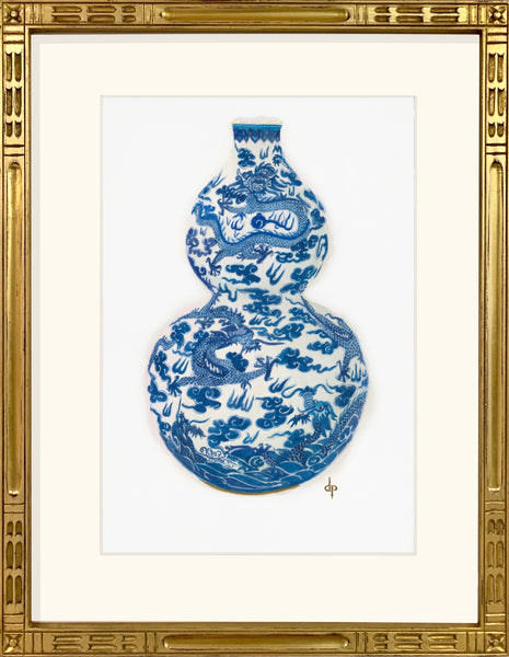Blue and White Double-gourd Dragon Vase from the Jiaqing Period
