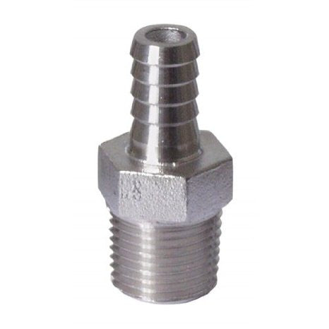 Adaptor 1/2 NPT to 3/8 Barb ss