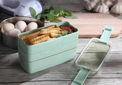 30 fl oz / 900ml Portable 3 Layer Lunch Box | Microwave safe - ECOcharming.com