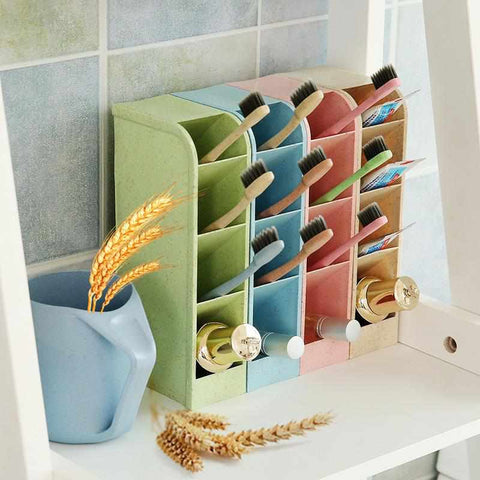 Image of 4 Grid Desk Organizer | Wheat Straw - ECOcharming.com