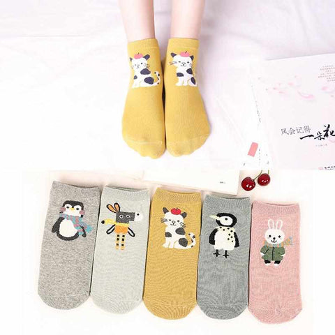 Image of 5x Cute Ankle Socks | Hearts | Animals | 2020 Collection - ECOcharming.com