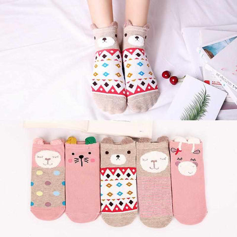 5x Cute Ankle Socks | Hearts | Animals | 2020 Collection - ECOcharming.com