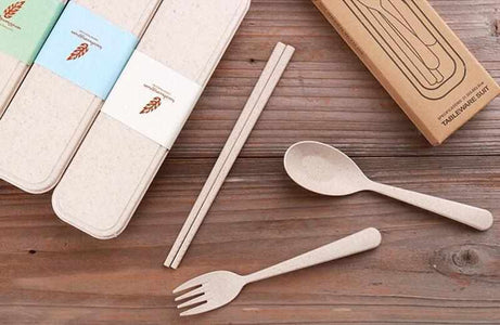 Cutlery Set (Fork, Spoon, Chopsticks) | Portable | Made from Wheat Straw - ECOcharming.com