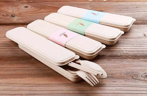 Image of Cutlery Set (Fork, Spoon, Chopsticks) | Portable | Made from Wheat Straw - ECOcharming.com