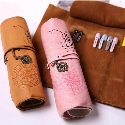 Luxury Retro Leather Pencil / Makeup Case Pouch - ECOcharming.com