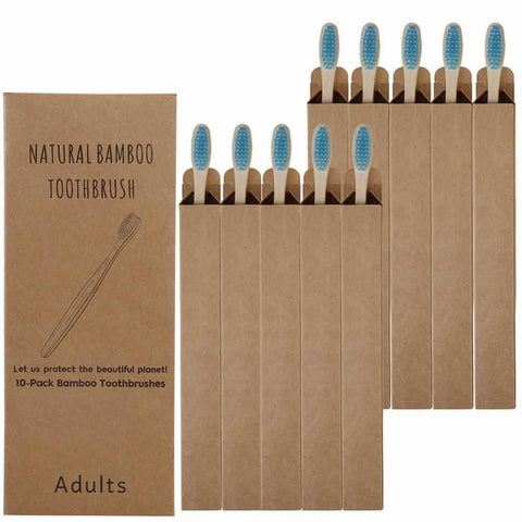 Image of 10 Bamboo Toothbrushes | Soft Fibre | Adult & Kids | Biodegradable