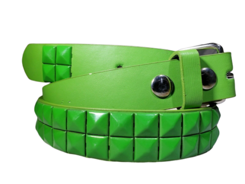 Kids Colors Metal Studded Bonded Leather Belt W Removable Buckle Many Colors - Green - L
