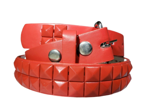 Kids Colors Metal Studded Bonded Leather Belt W Removable Buckle Many Colors - Red - S