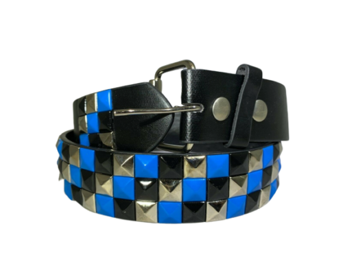 3-row Metal Pyramid Studded Leather Belt 3-tone Striped Punk Rock Goth Emo Biker - Blue With Silver And Black - S