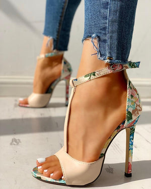 Contrast Color Floral Splicing Ankle Strap Heeled Sandals - Amazing Shoes