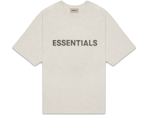 FEAR OF GOD 'ESSENTIALS' 3D SILICON APPLIQUE BOXY T-SHIRT OATMEAL HEATHER