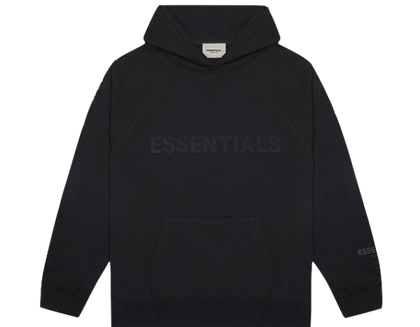FEAR OF GOD 'ESSENTIALS' 3D SILICON APPLIQUE PULLOVER HOODIE DARK SLATE/STRETCH LIMO/BLACK