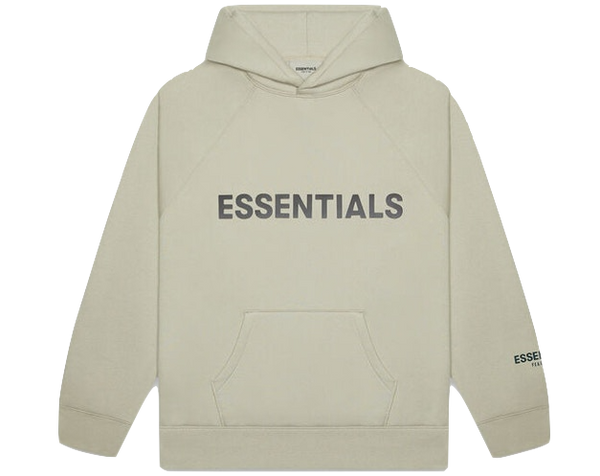 FEAR OF GOD 'ESSENTIALS' 3D SILICON APPLIQUE PULLOVER HOODIE MOSS