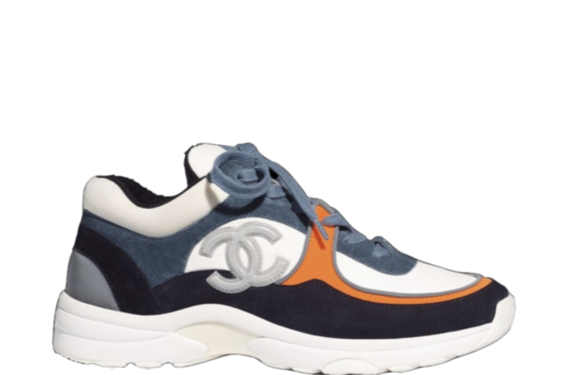 CHANEL RUNNERS CC LOGO 'SUEDE-NYLON WHITE ORANGE BLUE' SNEAKER
