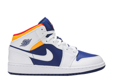 Load image into Gallery viewer, AIR JORDAN 1 MID GS 'WHITE DEEP ROYAL BLUE'