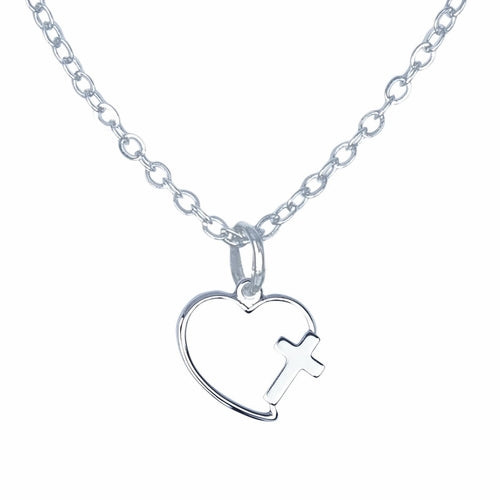 1ST COMMUNION NECKLACE / SILVER PLATED HEART WITH CROSS