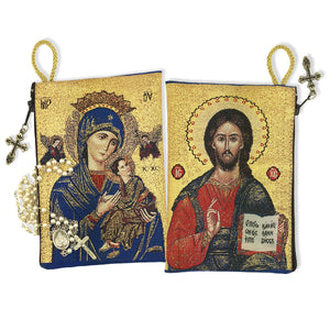 VIRGIN of PERPETUAL HELP / CHRIST the TEACHER ICON ROSARY POUCH
