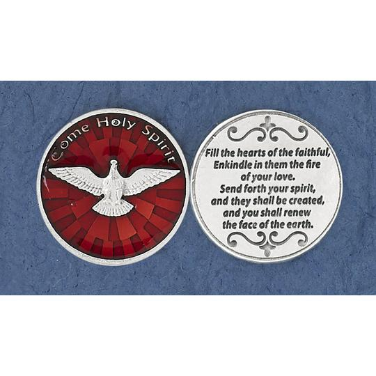 POCKET TOKEN HOLY SPIRIT RED ENAMEL