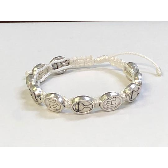 1ST COMMUNION CORDED BRACELET- WHITE