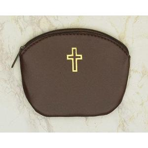 BROWN ROSARY CASE W/ CROSS