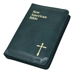 NEW AMERICAN BIBLE GREEN ZIPPER BINDING