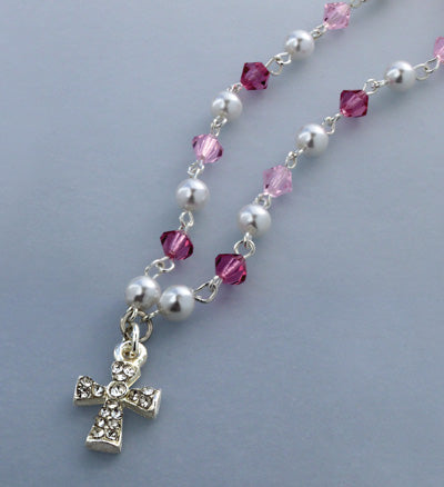 1ST COMMUNION CRYSTAL NECKLACE
