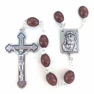 BROWN CARVED WOOD ROSARY