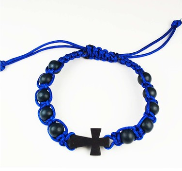 BLUE CORDED CROSS ROSARY BRACELET