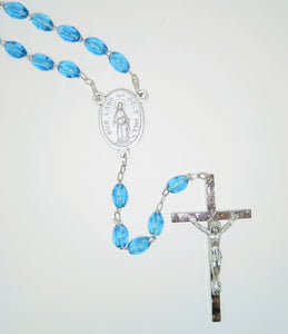SAPPHIRE OVAL BEAD ROSARY-HOLY HILL MEDAL