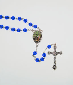 DARK SAPPHIRE COLORED ROSARY-HOLY HILL MEDAL