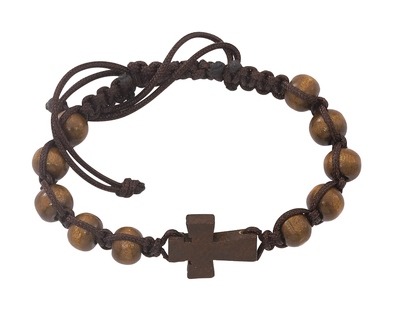 BROWN CORDED CROSS ROSARY BRACELET