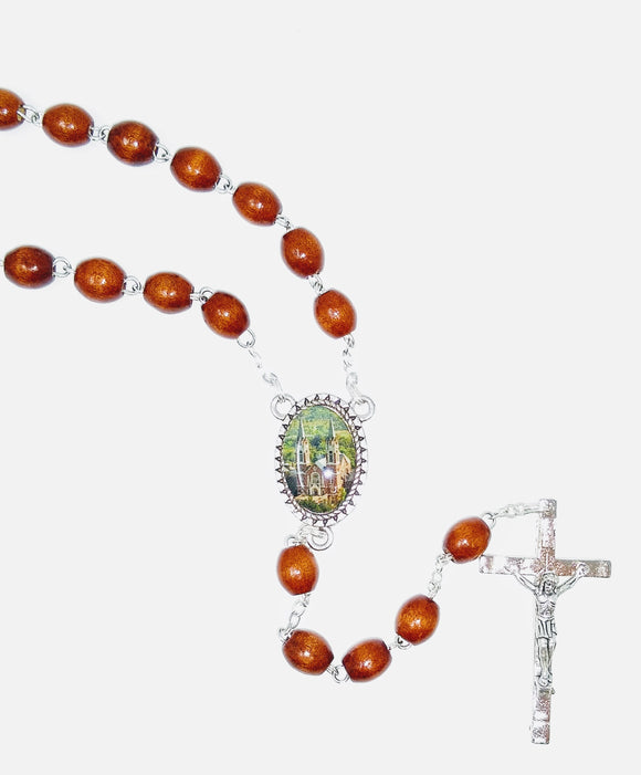 BROWN WOOD BEAD ROSARY-HOLY HILL MEDAL