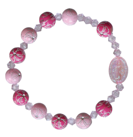 PINK FLOWER CHILDREN'S ROSARY BRACELET