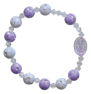 PURPLE FLOWER CHILDREN'S ROSARY BRACELET