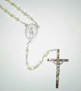 CRYSTAL OVAL BEAD ROSARY-HOLY HILL MEDAL