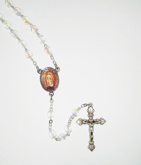 CLEAR BEAD ROSARY-HOLY HILL MEDAL