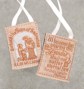 TRADITIONAL SCAPULAR WITH WHITE CLOTH