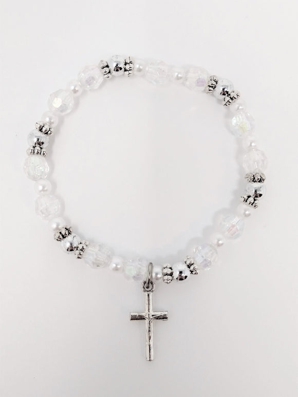 CRYSTAL & PEARL  COMMUNION STRETCH BRACELET