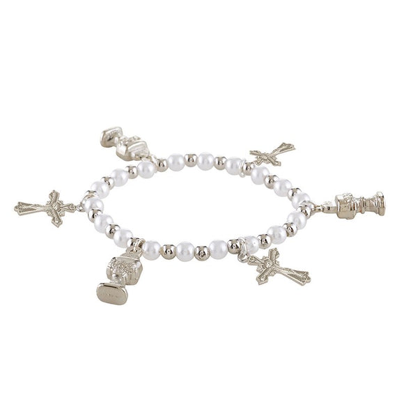 WHITE DANGLE FIRST COMMUNION BRACELET
