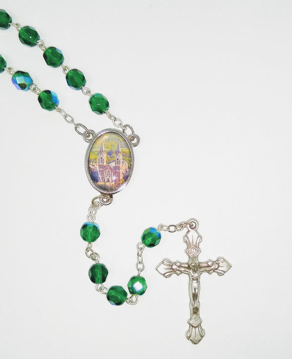 GREEN BEAD ROSARY-HOLY HILL MEDAL