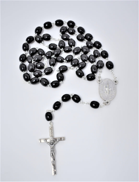 HH BLACK OVAL WOOD ROSARY